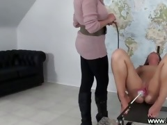 playgirl acquires drilled doggy style by a machine