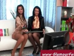 lesbos in nylons tempt the livecam