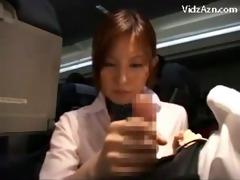stewardes watching jerking passenger tasting his