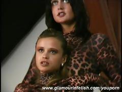 lesbo girlfriend in tiger spandex