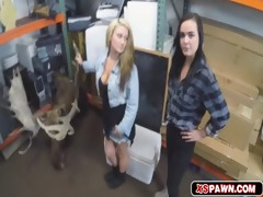 hawt lesbos screwed in pawn shop to make