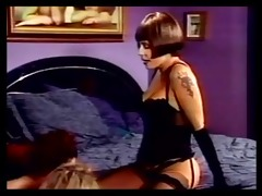 bdsm lesbo some have three-some in bedroom