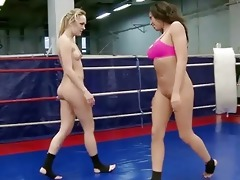 blue beauty and rio lee in lesbo wrestling