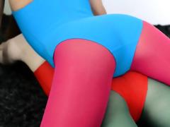 unshaved lesbian babes in nylon panties fuck