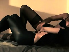blackhair sweetheart gets screwed with belt on
