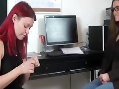 redhead worships feet of the boss