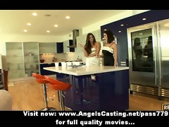 lesbo brunette hair angels cooking and flashing