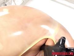 pervy rubber lesbians, finger, dildo, strap-on