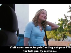lesbo gals flashing love melons in a car