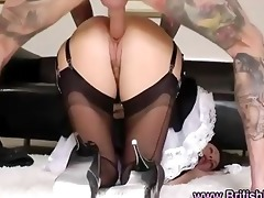 older british lady in french maid suit drilled