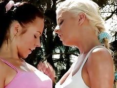 breathtaking blond and dark brown lesbian babes