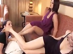 step sisters have a fun foot worship