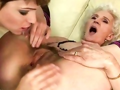 granny enjoys lesbo sex with youthful gal