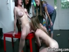 lascivious lesbo cuties drilled a doll and eat