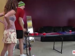 cuties and one guy play a game of strip beer pong