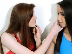 curly lesbian babes in nylon underware loving