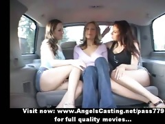 lesbo honeys and cute hitchhiker giving a kiss in