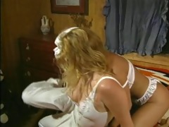 vintage golden-haired lesbo three-some