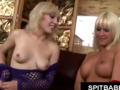 sexy golden-haired with pierced teats spitting on