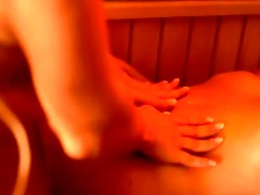 lesbo coed paramours fingering in sauna