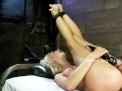 blond breasty beauty sucks and bonks electric