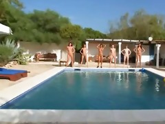 six naked babes by the pool from russia