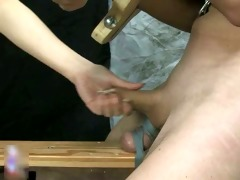 old golden-haired lesbo rubs her cunt part4