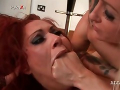 lesbian perverted wench receives vagina fisted