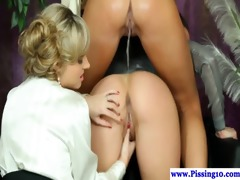 pissing lesbos licking soaked love button in high