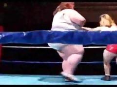 giant boob big beautiful woman wrestles a midget
