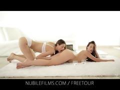 nubile films - erotic brunette hair lesbian babes
