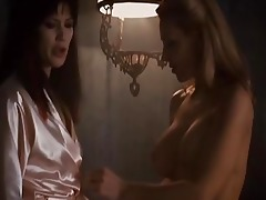 sexy brunette hair vampire acquires a lesbo
