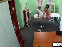 brunette hair lesbian patient licks the nurses