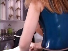 naked broad receives massage from honeys in rubber