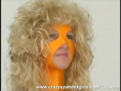 yellow fullbody spandex undress