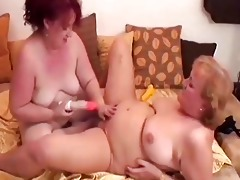greyhaired granny lesbos receive off with sex toys
