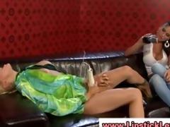 euro lesbian babes disrobe and use toys on their