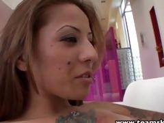 stepsiblings tattooed chick licks latin vagina
