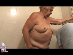 old plump granny in bathroom