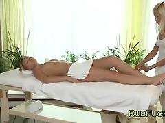 golden-haired receives feet massage and muff lick